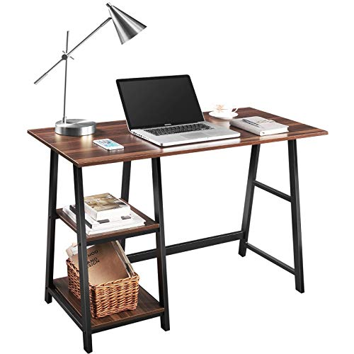 Computer Desk, QooWare 43' Writing Desk with 2 Storage Shelves on Left or Right for Laptops, Modern Simple Study Wooden Desk with Metal Frame for Home Office, Supports Up to 150lbs