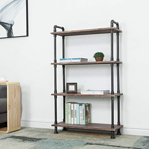 Homfa Bamboo Shelf 6 Tier, 63.4 Inches Height Free Standing Bookshelf Plant Flower Stand Rack Bathroom Storage Tower, Multipurpose Utility Organizer Shelf
