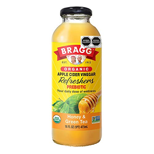 Bragg Organic Honey Green Tea Vinegar Drink 16 Oz – Apple Cider Vinegar Beverage – All Natural Ingredients