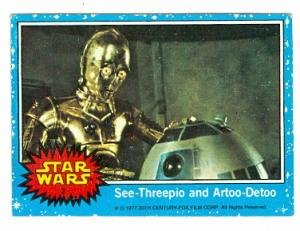 Star Wars card #2 1977 Topps See Threepio and Artoo Detoo C3PO R2D2