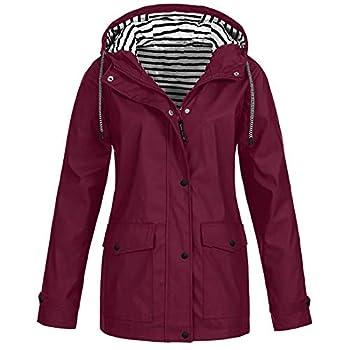 Aniywn Women s Waterproof Windproof Raincoat Outdoor Hooded Rain Jacket Lightweight Active Outdoor Windbreaker Coat
