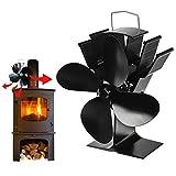 Ventilador de estufa sin electricidad – 4 hojas, alimentado por energía térmica, silencioso, económico – Tubo de chimenea ventilador para estufa de chimenea