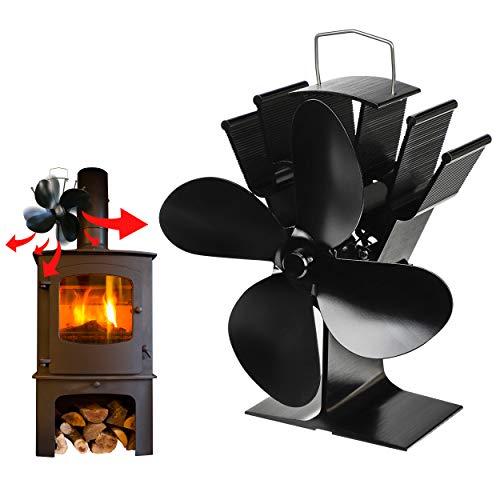 Kaminventilator Ofenventilator Lüfter ohne Strom - 4 Blätter, betrieben durch Wärmeenergie, geräuscharm, ökonomisch - Wärmebetriebener Kaminrohr Ventilator Kaminlüfter für Kamin Ofen