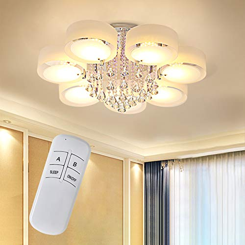 Modern Crystal LED Ceiling Lights Chandeliers 3 Way Pendant Lamp Remote