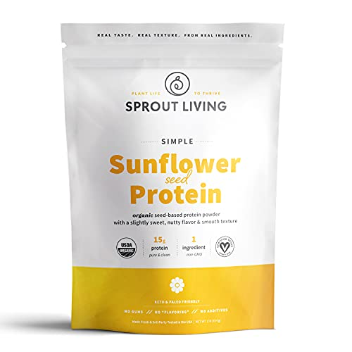 Sprout Living Simple Sunflower Seed Protein Powder, 15 Grams Organic Plant Based Protein Powder Without Artificial Sweeteners, Non Dairy, Non-GMO, Vegan, Gluten Free, Keto Drink Mix (1 Pound)