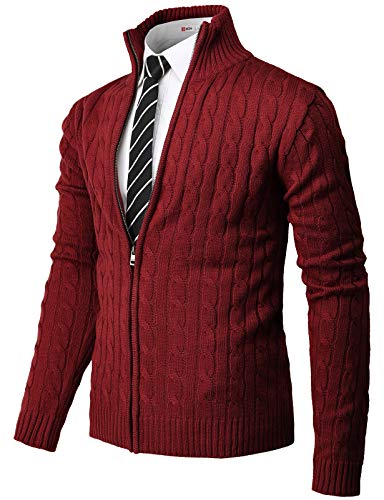 H2H Mens Casual Slim Fit Knitted Cardigan Zip-up Long Sleeve Thermal with Twisted Pattern RED US S/Asia M (CMOCAL034)