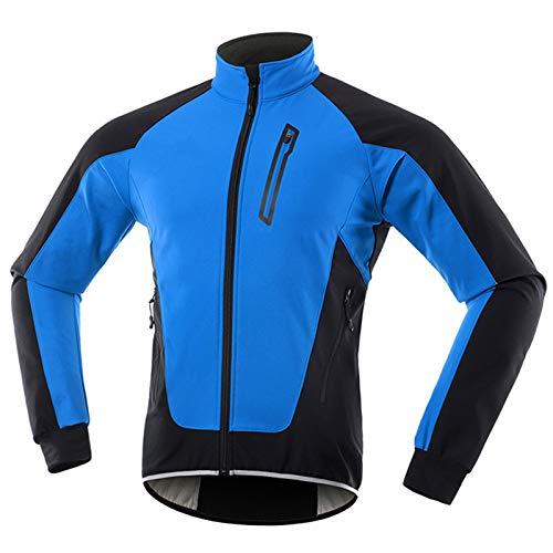 Chaqueta Ciclismo Hombre Invierno Polar Térmico, Impermeable Prueba de Viento Bicicleta Jackets Reflectante Alta Visibilidad Cortavientos,Azul,L