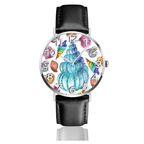 Reloj de Pulsera Colorido Concha Marina Durable PU Correa de Cuero Relojes de Negocios de Cuarzo Reloj de Pulsera Informal Unisex