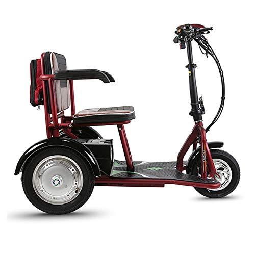 GJZhuan Bicicleta Eléctrica Scooter De Viaje Mobility Scooter 48V 12A / 20Ah Batería De Litio, Reversible, Ajuste De 3 Velocidades, Triciclo para Ancianos Discapacitados