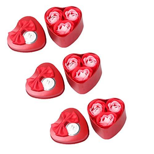 ELECTRI Fleurs Artificielles, 3 pcs Cœur parfumé de Bain Corps Pétale Fleur Rose Savon Décoration de Mariage Cadeau Hot