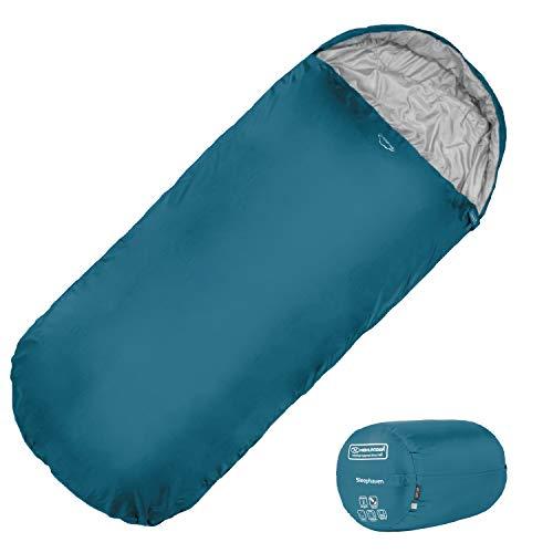 Highlander XL Junior Schlafsack Extra großes Pod-Design, perfekt für Camping und Übernachtungen - Leichte Einzelschlafsäcke für Kinder - The Junior Sleephaven (Marineblau)