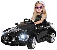 Actionbikes Motors Kinder Elektroauto Mercedes Amg GT-R - lizenziert – 2 x 25 Watt Motor – Ledersitz - Eva Reifen – Softstart - Kinderauto (Schwarz)