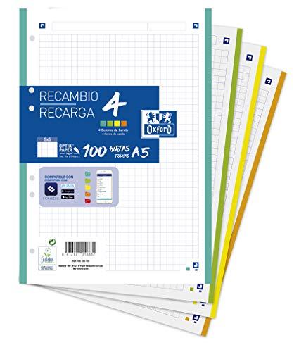 Oxford - Hojas cuadriculadas A5, Recambio Oxford, Banda 4 colores, Cuadrícula 5x5, 100 Hojas