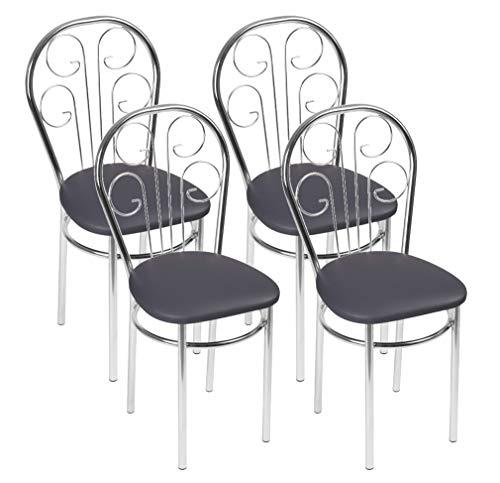 BSD Sedia da Pranzo Moderna in Ecopelle, Sedia da Sala da Pranzo, Set di 4 Sedie da Pranzo con Gambe in Metallo - Cezar Trapezio - Colore: Grigio-c - Set di 4