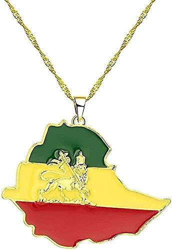 LBBYLFFF Collar con Colgante de Bandera etíope y Tarjeta de León para Mujeres y Hombres, Collar de Gargantilla con Cadena de Mapa de joyería de Color Dorado