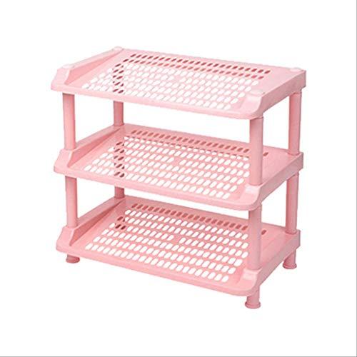 Yyqx Zapatera Rack de Zapatos de plástico Simple de 3 Capas, Compartimento para el hogar Almacenamiento a Prueba de Polvo Rack de Zapatos para ensamblaje Que Ahorra Espacio Zapatero (Color : Pink)