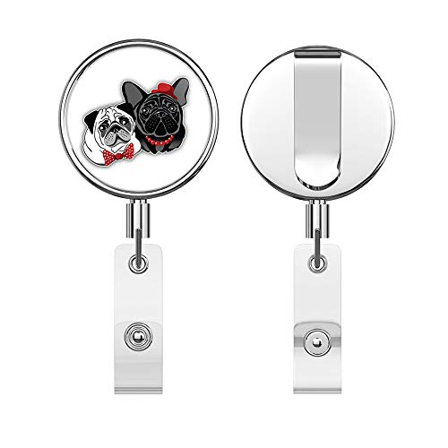 Pug and French Bulldog Round ID Badge Key Card Tag Holder Badge Retractable Reel Badge Holder with Belt Clip