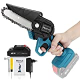 Mini Chainsaw, Mereced 4 Inch 20v Electric Chainsaw, Portable Handheld Cordless Chainsaw for gardening pruning tree trimming wood cutting, Battery and Charger Included