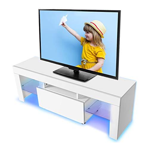 Greensen Mueble TV LED armario escritorio TV moderno con cajón portaobjetos, tira LED y mando a distancia