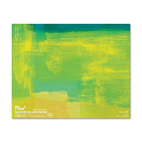 Fluid Watercolor Paper 851620 140LB Hot Press 16 x 20 Block, 15 Sheets