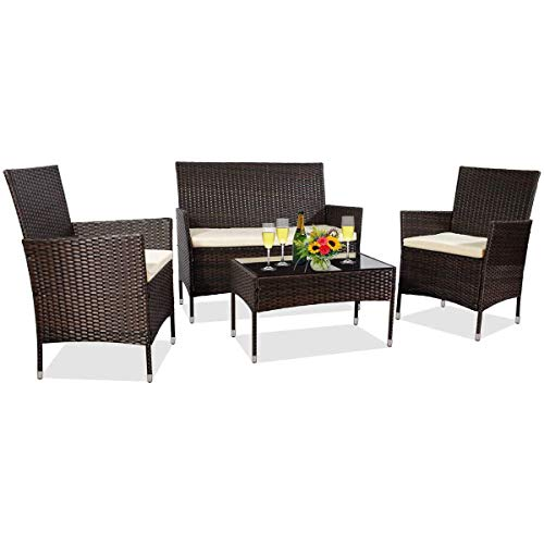MZY Patio Furniture, 4 Pieces Outdoor Furniture All Weather Rattan Sofa Conversation Sets for Lawn, Garden, Brown