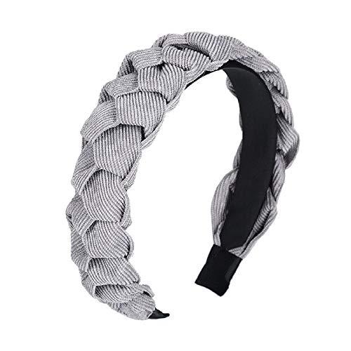 Haimeikang Diadema simple Color sólido Cabeza tejedora Aro Twist cross Otoño e invierno Nuevos accesorios para el cabello-gris