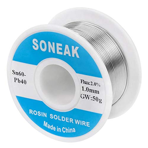 SONEAK 60/40 Tin Lead Solder With Rosin Core For Electrical Soldering 1.0mm 50g