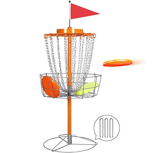 YAHEETECH Portable Disc Golf Basket - 18-Chain Practice Target Steel Hole Heavy Duty Disc Golf Goals Catcher