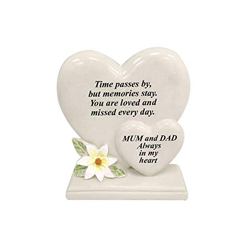 Personalised Grave Ornament/Memorial Plaque with Double Hearts | Graveside Decoration Gift in the Loving Memory of your Loving Deceased Ones (Mum and Dad)