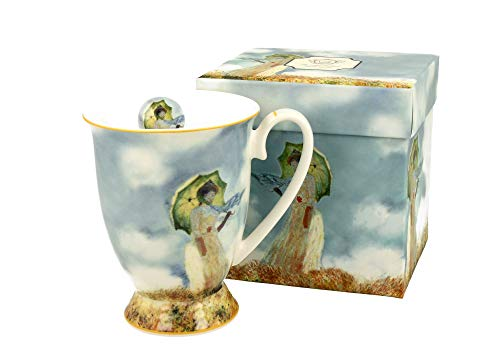 Duo Tasse à café motif soleil Monet avec pied - 300 ml - XXL - Pour thé et café - Motif floral