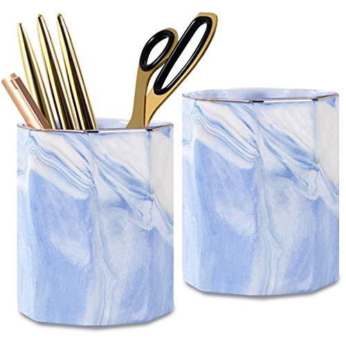 Ceramic Pen Holder Stand,Cup for Desk Marble Pattern Makeup Brush Holder for Girls Women,Desk Accessories Holder,Durable Desktop Organizer Pencil Holder Pot Ideal Gift for Office Home (2 Pack Blue)