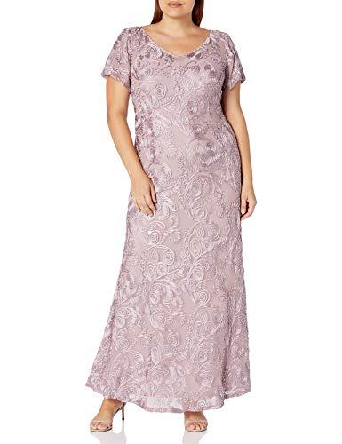 Alex Evenings Women's Plus-Size Long A-line Rosette Dress with Short Sleeves, Mauve, 20W