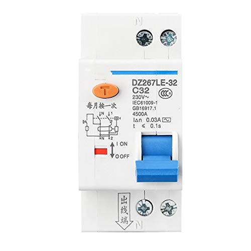 LUOXUEFEI Disyuntor Diferencial Interruptor Disyuntor De Corriente Residual 1P N 6A 10A 16A 20A 25A 32A
