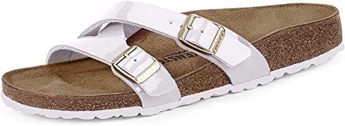 Birkenstock Yao White Birko Flor Patent Sandal Blanco 39 EU