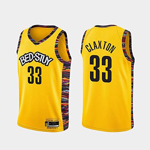 CYYX Jersey de Baloncesto de los Hombres, NBA Brooklyn Nets # 33 Nicolas Claxton Classic Jersey Transpirable Resistente al Desgaste Baloncesto Baloncesto Baloncesto Swingman Jerseys,Amarillo,XXL