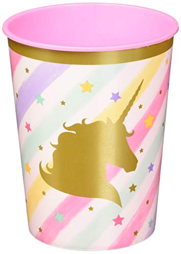 Creative Converting 329303 Unicorn Sparkle 12-Count Plastic Keepsake Party Cups