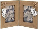Maturi - Cornice portafoto a 4 cuori intrecciati, in legno, marrone, 10 x 15 cm