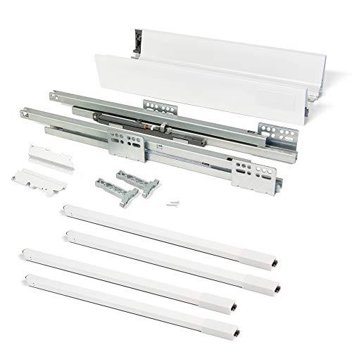 Emuca Kit de tiroir Vantage0Q Hauteur 204 mm et Profondeur 350 mm avec tringles Finition Blanc