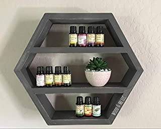 Hexagon Essential Oil Shelf, Nursery Room Decor, Double Geometrical Floating Shelf, Wooden display for Crystals, Honey Comb Shelf
