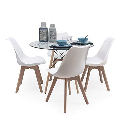 Conjunto de Comedor Tower Day Cristal Mesa de Cristal Redonda de 100 cm y 4 sillas Day (Blanco)