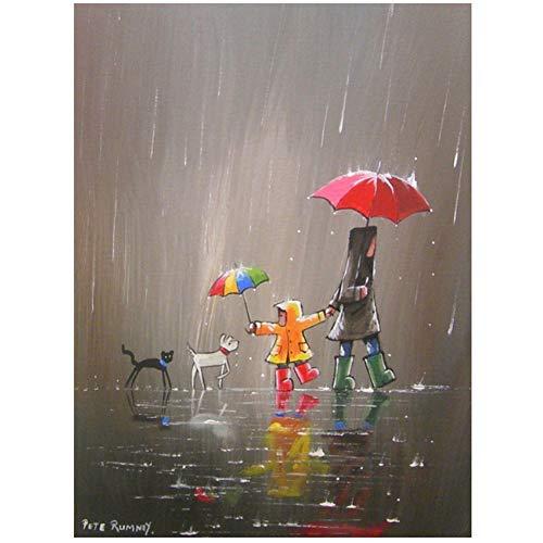 Canvas Schilderij Landschap Poster Wandelen In De Regen Paraplu voor Dieren Schilderij Wall Art Pictures Woonkamer-60x80cm Geen Frame