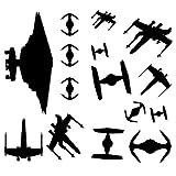 UKSELLINGSUPPLIERS - Juego de 13vinilos adhesivos para pared, diseño de naves espaciales de Star Wars, color negro