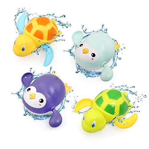 BelleStyle Juguetes Baño Bebe, Juguetes Bañera para Bebe Niños Niñas de 1 2 3 4 Año, 4 Piezas Juguetes de Agua Plastico Piscina de Verano Baño Tortuga y Pingüino Juego de Ducha para Pequeños Niños