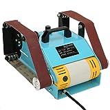 Ponceuse à bande, double tête électrique de ponçage de bureau à bois Outil de meulage de machine de polissage de disque de ponceuse 950W (prise UE 220V)