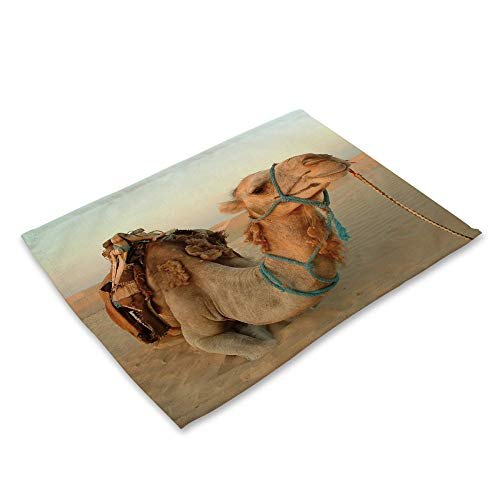 ZCHPDD Tier Serie Baumwolle Leinen Kunst Westlichen Mahlzeit Pad Wüste Kamel Druck 42 * 32 cm * 8 Stücke