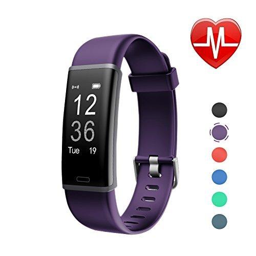 LETSCOM Id130plus Fitness-Herzfrequenz-Monitor, Schrittzähler, Kalorienzähler, Smart-Armband für Kinder, Damen und Herren, Unisex, ID130Plus HR, violett, 17.4 * 8.8 * 1.8cm