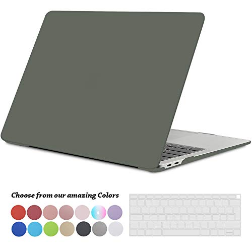 TECOOL MacBook Air 13 inch Case 2018, Hard Shell Beschermhoes Geval Hoes Mouw en Transparante Toetsenbord Cover voor Apple Nieuwe MacBook Air 13.3 Retina met Touch ID (Model: A1932) -Middernacht Groen