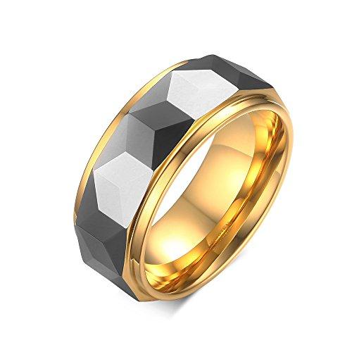 Grand Made Anillos de Acero de Tungsteno para Hombres Regalo de Mujeres para el día del Padre Alianza de Compromiso Clásico de 6 mm a 8 mm para su Familia (Gray & Gold, 8)
