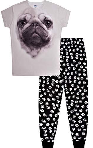ThePyjamaFactory Langer Schlafanzug mit Mops-Motiv, 3D, Pfotenabdruckmotiv, 9-14 Jahre Gr. 15-16 Jahre, Schwarz