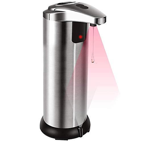 HITECHLIFE Automatischer Seifenspender, 250 ml berührungsloser batteriebetriebener elektrischer Seifenspender, wasserdichter Infrarotsensor-Seifenspender aus Edelstahl für Badezimmerküchenhotel